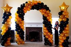 gold and black balloon arch - Google Search