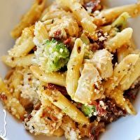Baked Penne with Chicken, Broccoli, and Smoked Mozzarella.