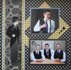 Scrapbook Page -Gettin' Hitched -LHP of a 2 page layout of the Groom with a man in a tuxedo from Art Deco - from Wedding Album 1