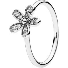 Pandora Ring - Sterling Silver & Cubic Zirconia Dazzling Daisy ($50) ❤ liked on Polyvore featuring jewelry, rings, silver, cz rings, cz jewelry, pandora jewellery, zirconia jewelry and cubic zirconia rings