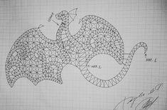 Дракон. Сколок кружева для плетения на коклюшках