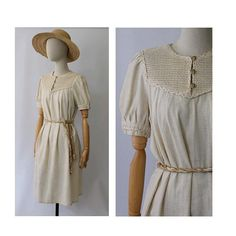 Vintage 1970s linen & cotton Dress / 70s french Dress cord belted