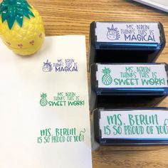 """Freshen up your grading this year with CUSTOM self-inking teacher stamps! Personalized stamps make great presents for teachers + co-workers! Lots of helpful stamps & """"punny"""" stamps to choose from! 1st Year Teachers, Teachers Aide, Presents For Teachers, Teacher Stamps, Teacher Logo, Class Teacher, Classroom Fun, Future Classroom, Classroom Setting"""