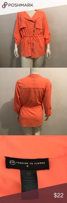 Neon Blouse By Fashion to Figure Plus Size 16 NWOT Beautiful bright Blouse. Kinda resembles a trench. Zips in the front and has 3/4 sleeves. Garment also has a drawstring. Per the brand, the size is 0...as for standard sizing, it's a 16. Color is neon orange. NWOT Fashion to Figure Tops Blouses