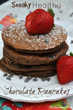 Sneaky Healthy Chocolate Pancakes: Thanks to a cocoa-flavored batter that is studded with miniature chocolate chips, your family will never know that there are fruits and veggies hiding in these delicious pancakes!