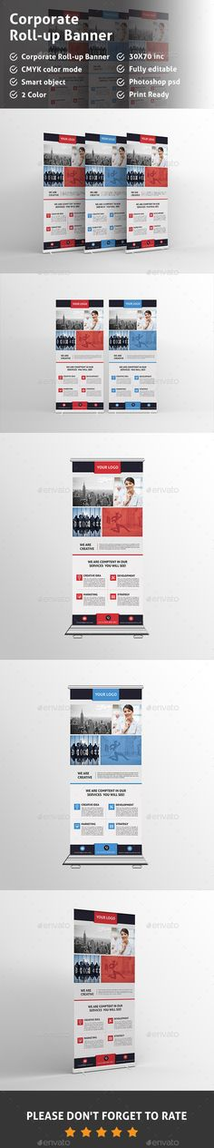 Buy Corporate Roll-up Banners by Pixelpick on GraphicRiver. Corporate Roll-up Banners perfect for Corporate Business Advertisement, can be used for other business too. Signage Design, Brochure Design, Brochure Template, Rollup Banner, Banner Template, Retail Signage, Digital Signage, Corporate Business, Print Templates