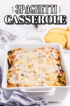 Spaghetti Casserole - Layered pasta, creamy mushroom sauce, diced tomatoes, mushrooms and olives are combined to make a perfect weekend supper. Easy Pasta Recipes, Spaghetti Recipes, Easy Dinner Recipes, Beef Recipes, Soup Recipes, Cooking Recipes, Spaghetti Casserole, Pasta Casserole, Casserole Dishes