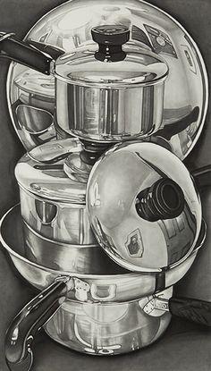 Jeanette Pasin Sloan, Pans, 2013, Graphite on Paper, 22 in x 14 in, #018614 LewAllen Galleries