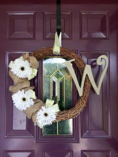 Grapevine. Wreath. Burlap. Flowers. Stripes. Olive. White.
