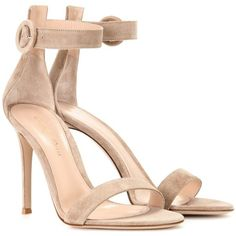 Gianvito Rossi Portofino Suede Sandals ($770) ❤ liked on Polyvore featuring shoes, sandals, nude shoes, suede sandals, suede leather shoes, gianvito rossi and nude suede shoes