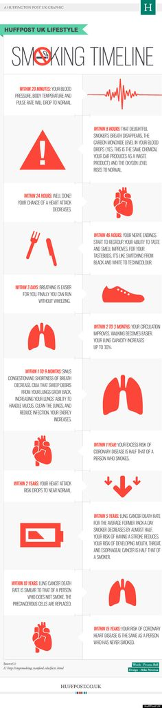 This is actually very encouraging, I would think, to smokers. Daily Infographic | Smoking Timeline [Infographic]