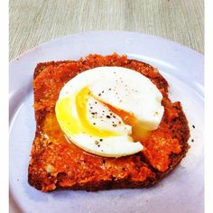 Poached Egg on Sundried Tomato Hemp Pate by chef shanna http://nutiva.com
