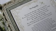THE DRAGONFLY; Framed story on loss, Sympathy gift, Grieving friend gift, Grief gift, Terminal Illness gift, Dragonfly story, Consoling gift