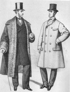 This gives a look at the men's frock coat, which was a consistent length all the way around.