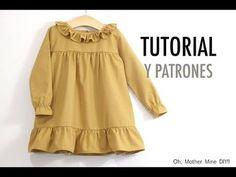 FREE dress pattern (in Spanish) Baby Dress Tutorials, Baby Dress Patterns, Baby Clothes Patterns, Frocks For Girls, Little Dresses, Little Girl Dresses, Girls Fall Fashion, Toddler Fashion, Baby Dress Design