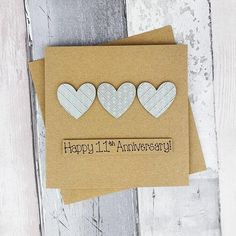 11th anniversary card Steel wedding anniversary card | Etsy Happy Anniversary Husband, Anniversary Cards For Wife, 11th Wedding Anniversary, Baby Girl Cards, New Baby Cards, Congratulations Card, Heart Cards, Sell On Etsy, Handmade Baby