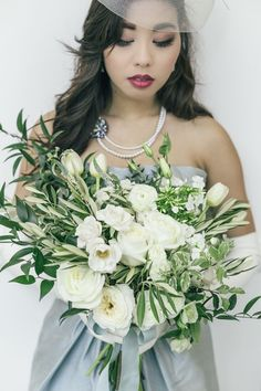 White and green bridal bouquet | The Love Studio | see more on: http://burnettsboards.com/2015/03/vintage-dior-wedding-editorial/