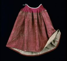 Petticoat, rust red quilted silk, 1760-1790.
