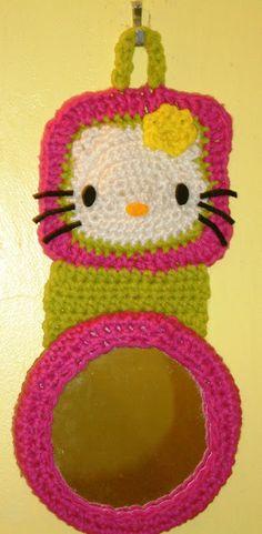 Crochet Parfait: Hello Kitty Locker Mirror free pattern