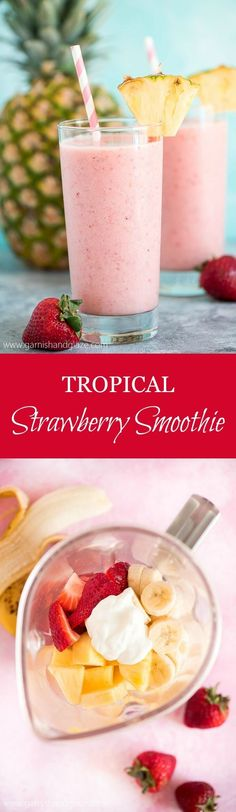 This Aloha Tropical Smoothie has just 6 simple ingredients-. This Aloha Tropical Smoothie has just 6 simple ingredients- pineapple strawberries banana yogurt ice and juice. Tropical goodness in every sip! Tropical Smoothie Recipes, Smoothie Fruit, Breakfast Smoothies, Smoothie Drinks, Healthy Smoothies, Healthy Drinks, Simple Smoothies, Simple Smoothie Recipes, Healthy Juices