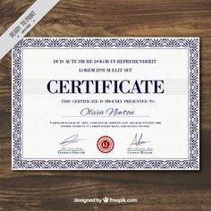 Elegant diploma template Free Vector Certificate Of Achievement Template, Certificate Border, Certificate Design Template, Award Template, International Bible, Border Templates, Certificate Of Appreciation, Bible College, Vector Free