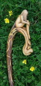 One piece wood nymph crook stick by MS ART Malc Spour Handmade Walking Sticks, Wooden Walking Sticks, Walking Sticks And Canes, Walking Canes, Dremel Carving, Wood Carving, Dragon Staff, Wood Nymphs, Cane Handles