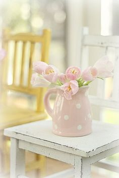 Tulips in a polka dot pitcher #flowers