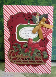 "Handmade Anna Griffin Holiday Trimmings Vintage ""Sending Christmas Cheer"" Card"