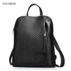 63.80$  Buy here - http://aliptd.shopchina.info/go.php?t=32786861052 - YOGOBOR Free shipping college style genuine leather backpack 3 color solid tassel women backpack bag of school bags high quality  #aliexpress