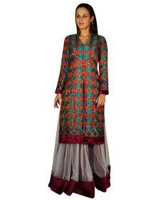Phulkari Kurta With Net And Velvet Lehanga | Tt-3008 Knl | Talkingthreads | Global Online Boutique | Buy Finest Embroidered Sarees | Salwar Kameez | Dupattas | Shawls | Kurtis | Tops | Tunics