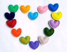 Little wool felt heart ornaments  set of 14 by PrettyFeltThings, $49.00