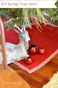 burlap christmas tree skirt with ribbon trim