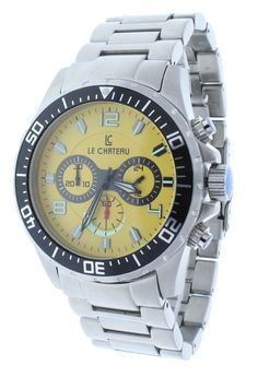 Le Chateau 7072-MY Men's Sports Stainless Steel Chrono Watch Yellow Dial GMT Rotating Bezel