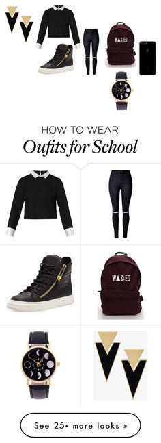 """""""school flow"""" by zaralover242 on Polyvore featuring Maje, Giuseppe Zanotti and Yves Saint Laurent"""