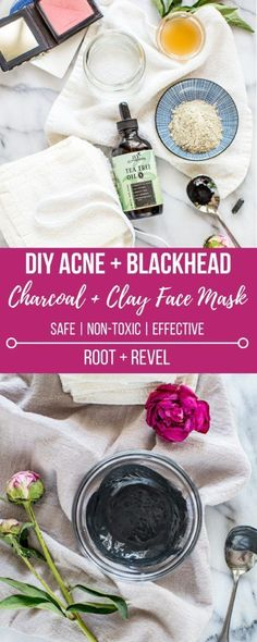 This DIY Charcoal + Clay face mask is a homemade remedy for acne and blackhead removal. Made with Bentonite clay, activated charcoal, tea tree oil, and apple cider vinegar, this recipe is detoxifying and purifying, and super easy to make! #DIY #acne #blackheads #charcoal #clay #mask