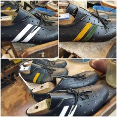 Customised leather cycles shoes - choose the stripes to match your bike. Vintage Boots, Vintage Leather, Cycling Shoes, Birkenstock Boston Clog, Leather Boots, Stripes, Bike, Sandals, Fashion