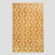 One of my favorite discoveries at WorldMarket.com: Orange Arabesque Indoor-Outdoor Rug $130