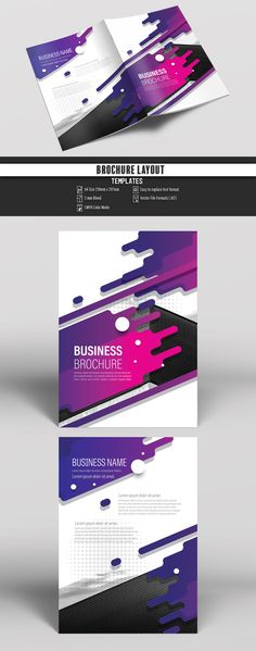 Brochure Cover Layout with Purple Splash Design Buy this stock template and explore similar templates at Adobe Stock Layout Design, Web Design, Website Design Layout, Flyer Design, Graphic Design, Brochure Cover, Brochure Layout, Brochure Template, Flyer Template