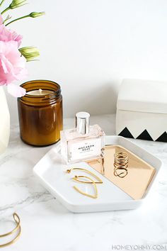 DIY Mirrored gold hexagon jewelry tray