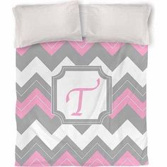 Thumbprintz Chevron Monogram Duvet Cover, Pink