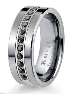 Black Tungsten Carbide Lotus Ring 8mm Wedding Band Anniversary Ring for Men and Women Size 13.5