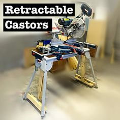 Retractable Castors for a Mitre Saw : 5 Steps (with Pictures) - Instructables Mitre Saw Stand, Miter Saw, Wood Blocks, Drafting Desk, Storage, Pictures, Purse Storage, Photos, Wooden Blocks