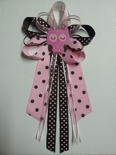 Pink and brown OWL baby shower pin/corsage. $12.00, via Etsy.