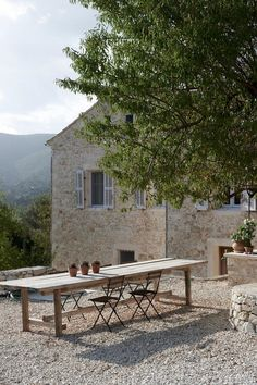 Weekend Escape: Villa Kalos On Ithaca, Greece Outdoor Dining, Outdoor Tables, Outdoor Decor, Dining Area, Dining Table, Teak Table, Rustic Outdoor, Patio Table, Picnic Table