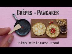 Miniature Pancakes / Crêpes, Pan and Strawberries // Fimo Polymer Clay Miniature…