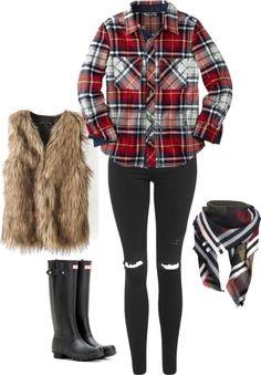 faux fur vest, plaid and fur vest outfit, hunter boots, black jeans, plaid on plaid outfit, how to wear a fur vest
