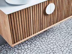 terrazzo flooring Reeded vanity detail and terrazzo floors Bathroom Styling, Bathroom Interior Design, Timber Vanity, Cottage Style Bathrooms, Terrazo, Timber Panelling, Bathroom Trends, Bathroom Ideas, Budget Bathroom