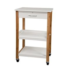 Bamboo Kitchen Utility Cart With Removable Tray And Wheels   Overstock™  Shopping   Great Deals