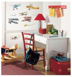 22 New Vintage Airplanes Wall Decals Planes Stickers Boys Room Decor Decorations