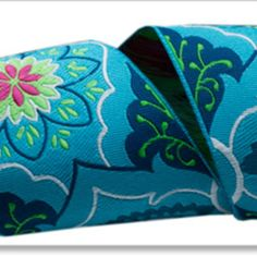 Amy Butler - Amy Butler Ribbons - Brocade in Blue on Navy